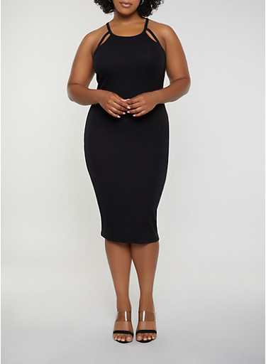Plus Size Rib Knit Cut Out Tank Dress,BLACK,large