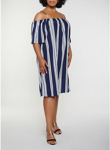 Plus Size Striped Cold Shoulder Shift Dress