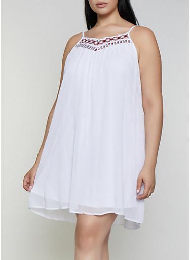 Plus Size Crochet Trim Shift Dress,WHITE,large