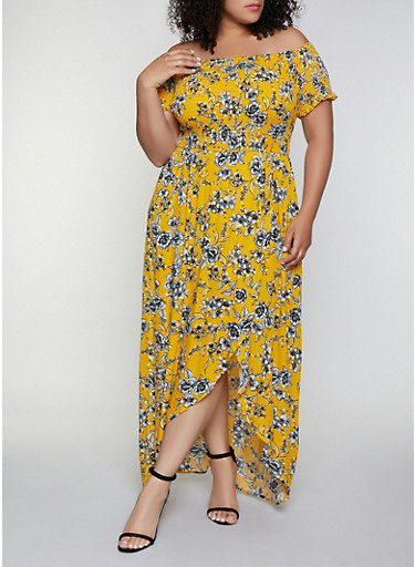 Plus Size Floral Smocked Off the Shoulder Maxi Dress - Rainbow