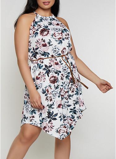 Plus Size Floral Belted Skater Dress,IVORY,large