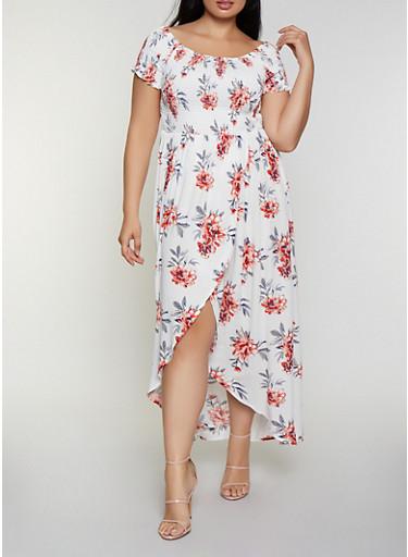 Plus Size Tulip Hem Floral Off the Shoulder Maxi Dress - Rainbow