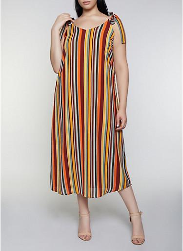 Plus Size Striped Tie Strap Midi Dress,RUST,large