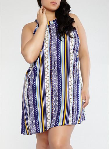 Plus Size Printed Shift Dress,NAVY,large