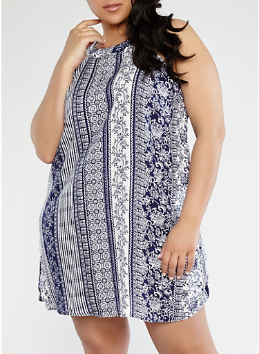 Plus Size Printed Shift Dress,NAVY,large
