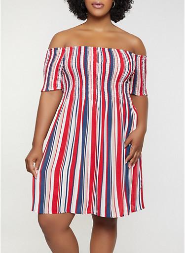 Plus Size Smocked Off the Shoulder Dress,RED,large