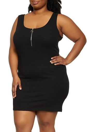 Plus Size Half Zip Tank Dress,BLACK,large