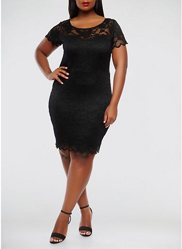 Plus Size Lace Bodycon Dress,BLACK,large