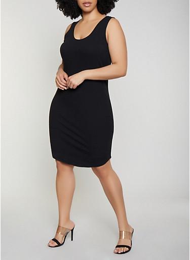Plus Size Caged Back Rib Knit Tank Dress,BLACK,large