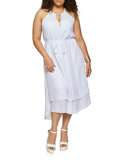 Plus Size Empire Waist Tiered High Low Dress,WHITE,large