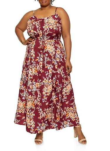Plus Size Floral Tie Front Maxi Dress,BURGUNDY,large