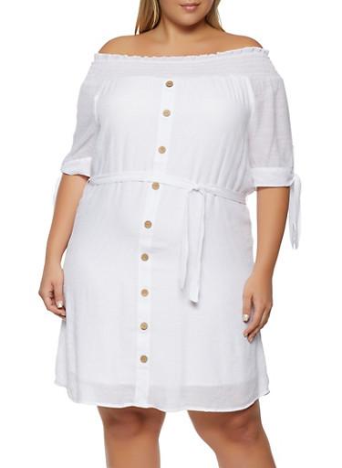 Plus Size Smocked Peasant Dress,WHITE,large