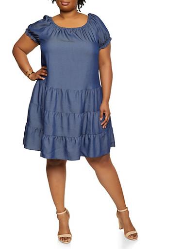 Plus Size Chambray Tiered Shift Dress,DENIM,large
