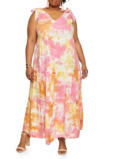 Plus Size Tie Dye Tiered Dress,PINK,large