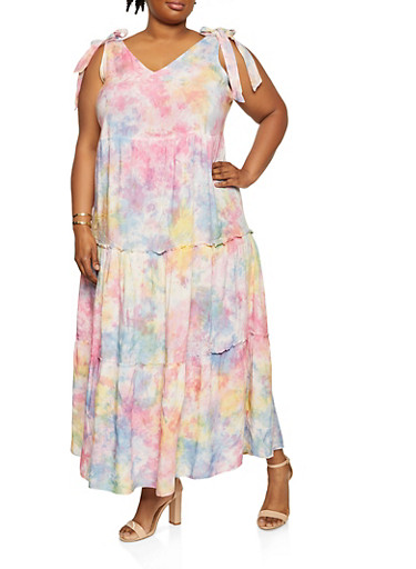 Plus Size Tie Dye Tiered Sundress,PINK,large