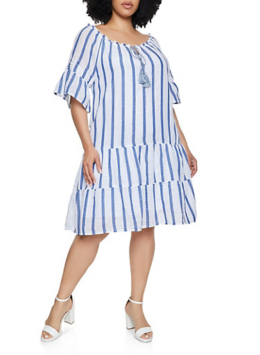 Plus Size Vertical Stripe Tiered Peasant Dress,NAVY,large