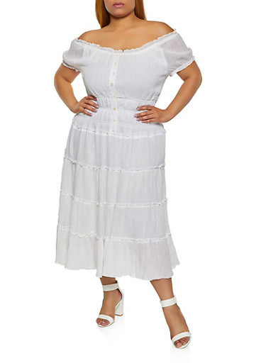 Plus Size Tiered Off the Shoulder Peasant Dress,WHITE,large