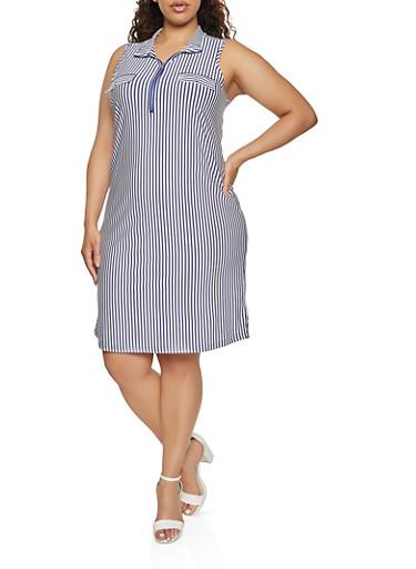Plus Size Striped Zip Neck Shift Dress,NAVY,large