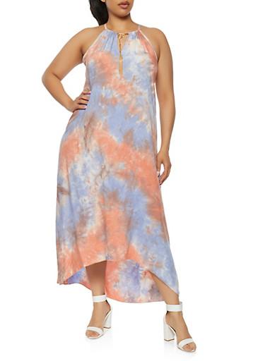 Plus Size Tie Dye Metallic Neck Detail Dress,CORAL,large
