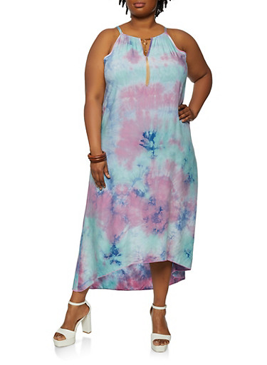 Plus Size Tie Dye Button Back High Low Dress,TURQUOISE,large