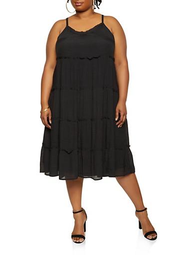 Plus Size Tiered Sundress,BLACK,large