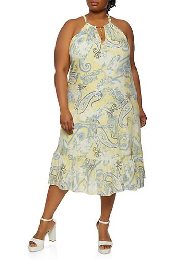 Plus Size Paisley Midi Dress,YELLOW,large