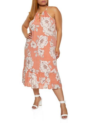 Plus Size Floral Metallic High Neck Ruffle Hem Dress,CORAL,large