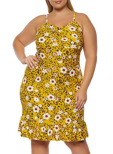 Plus Size Floral Print Cami Dress,YELLOW,large