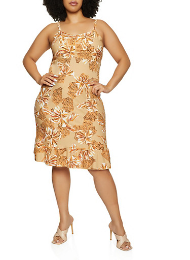 Plus Size Floral Ruffled Hem Dress,BROWN,large