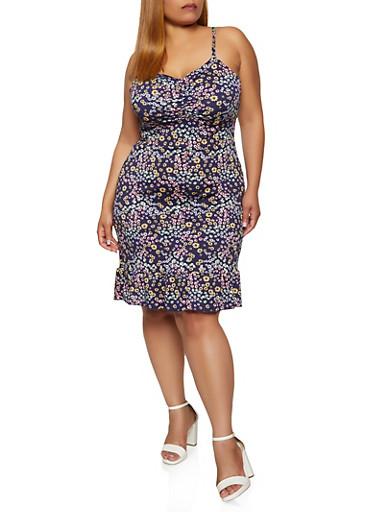 Plus Size Daisy Print Cami Dress,NAVY,large