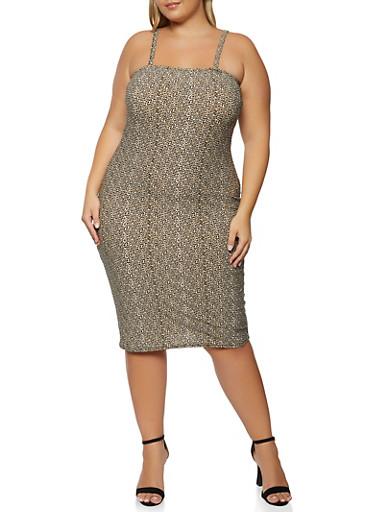 Plus Size Leopard Print Cami Dress,BROWN,large