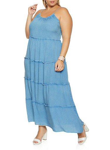 Plus Size Tiered Cami Dress,MEDIUM WASH,large