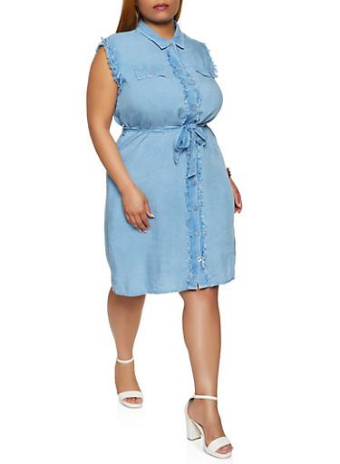 Plus Size Frayed Sleeveless Shirt Dress,MEDIUM WASH,large