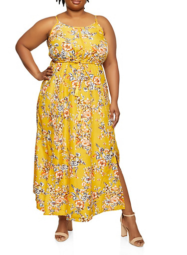 Plus Size Floral Tassel Drawstring Waist Maxi Dress,GOLD,large