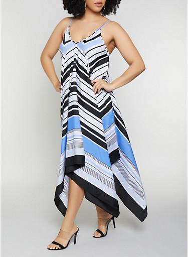 Plus Size Chevron Trapeze Dress