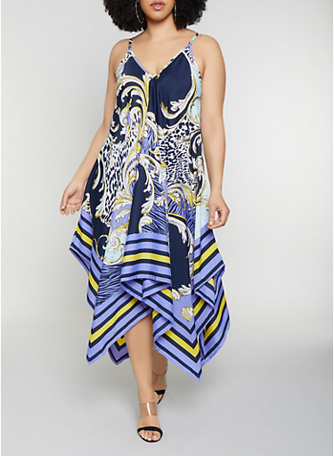 Plus Size Printed Asymmetrical Dress | 0390056121546,NAVY,large