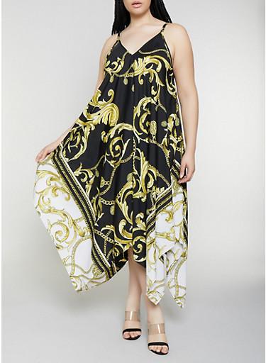 Plus Size Status Print Sharkbite Maxi Dress,BLACK,large