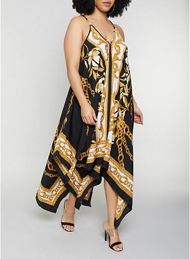 Plus Size Status Print Asymmetrical Dress,BLACK,large