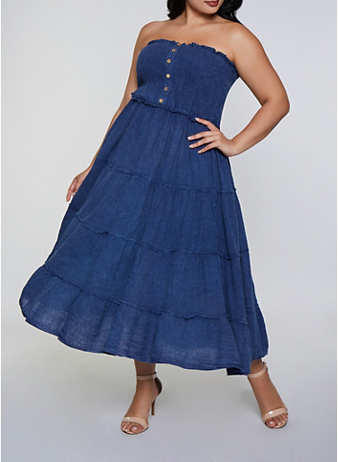 Plus Size Smocked Button Front Skater Dress,DARK WASH,large