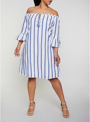 Plus Size Vertical Stripe Off the Shoulder Shift Dress,WHITE/BLUE,large