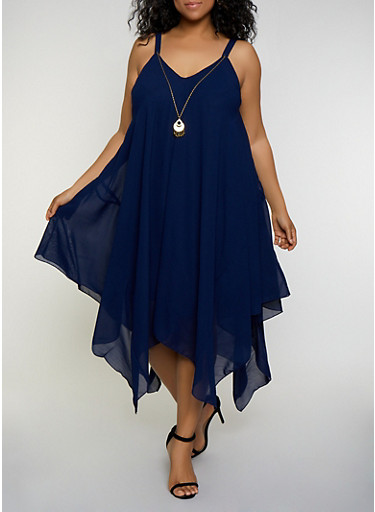 Plus Size Asymmetrical Shift Dress with Necklace,RYL BLUE,large