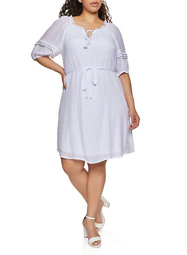 Plus Size Pleated Bubble Sleeve Peasant Dress,WHITE,large