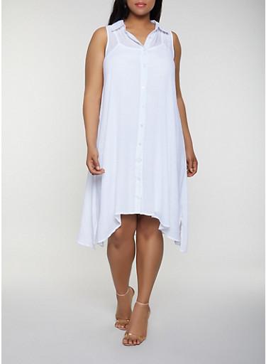 Plus Size Gauze Knit Trapeze Dress,WHITE,large