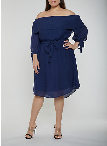 Plus Size Gauze Knit Tie Sleeve Dress,NAVY,large