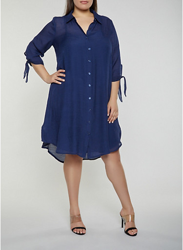 Plus Size Tie Sleeve Shirt Dress,NAVY,large