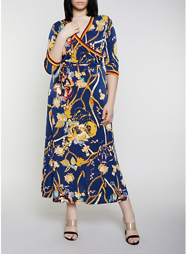 Plus Size Belted Faux Wrap Printed Maxi Dress