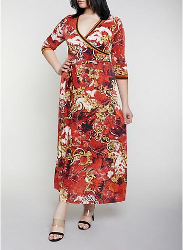 Plus Size Status Print Faux Wrap Maxi Dress,RUST,large