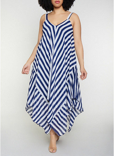 Plus Size Striped Sleeveless Sharkbite Dress,NAVY,large