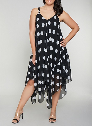 Plus Size Polka Dot Trapeze Dress,BLACK,large