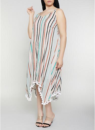 Plus Size Striped Tassel Trim Maxi Dress,MULTI COLOR,large